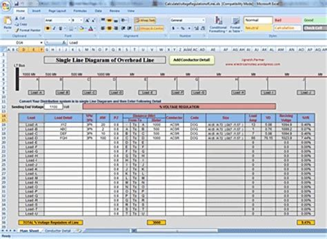 Overhead Calculation Spreadsheet by Calculation According To Single Line Diagram By Adding