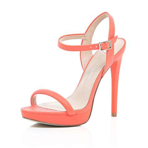 orange sandal heels river island orange snake print barely there sandals in