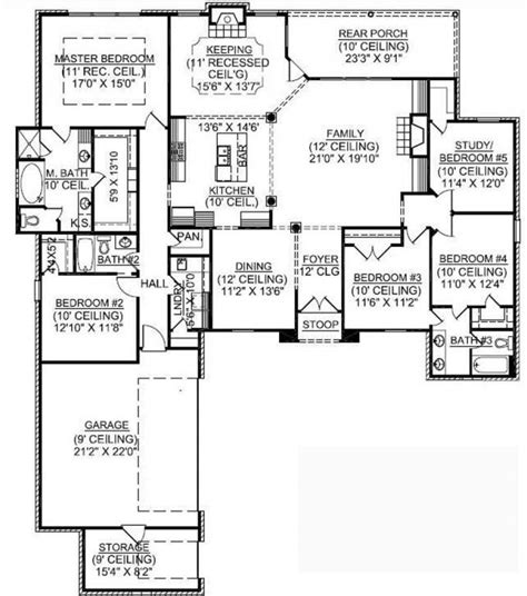 653725 1 Story 5 Bedroom French Country House Plan House Plans Floor Plans Home
