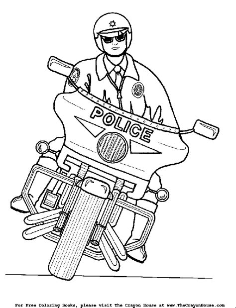 motorcycle cop coloring page the crayon house policeman motorcycle coloring pages