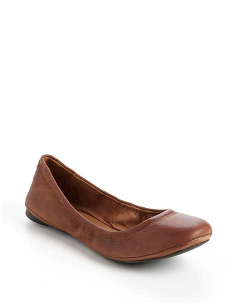 lucky brand shoes emmie flats lucky brand emmie ballet flats in brown brown leather lyst