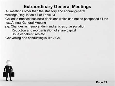 extraordinary general meeting minutes template meetings ppt