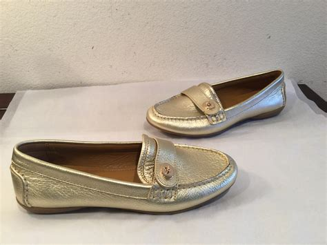 Coach Flats Leather coach flats new coach gold leather loafers leather lining 6 m snobswap snobswap