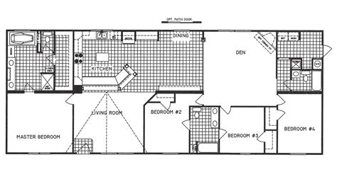 4 bedroom floor plan f 1001 hawks homes manufactured 4 bedroom floor plan c 9916 hawks homes manufactured
