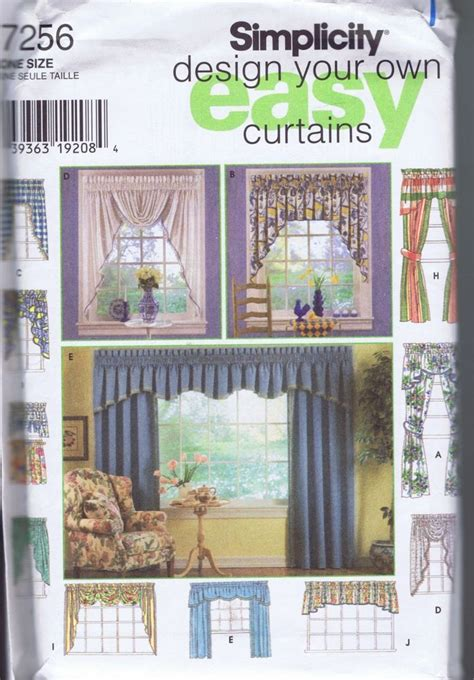 simplicity patterns curtains window drapery valance curtain jabot swags sewing patterns