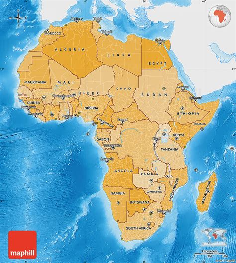 africa map sea political shades map of africa single color outside