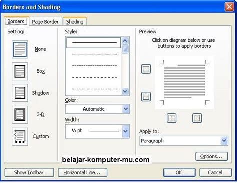 membuat border atau bingkai halaman di word 2010 cara membuat bingkai halaman pada microsoft word belajar