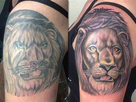 lion cover up tattoo fallen owl studio