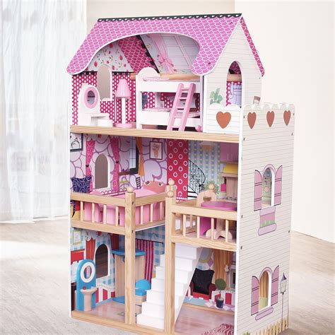 house and doll modern wooden kids dolls house large dolls house 17pcs furniture barbie doll ebay