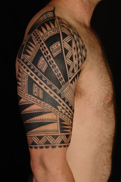 island sleeve tattoo designs shane tattoos polynesian half sleeve on steve