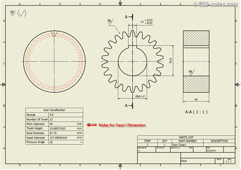 design criteria for gears automate standard additional notes in the drawing cadnotes