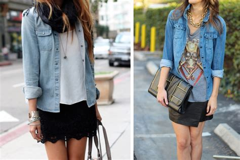 Combine Skirt q a how to wear a denim shirt 7 different ways lena penteado