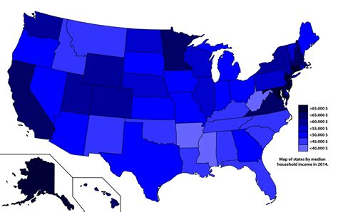 map of us states by income list of u s states by income