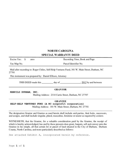 special warranty deed template north carolina free download