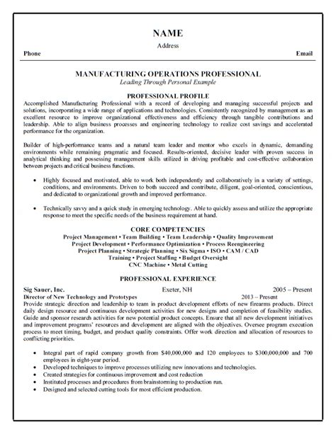 Resume Profile Exles Manufacturing Manufacturing Operations Professional Resume