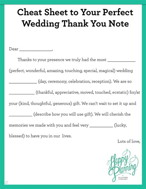wedding thank you note in sheet to your wedding thank you note