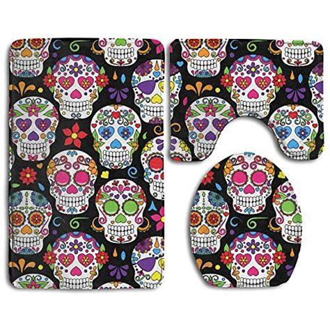 day of the dead bathroom set 3 piece day of the dead sugar skull anti slip bathroom rug