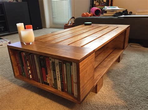 Bookcase Coffee Table White Slat Coffee Table With Incorporated Book Shelves Diy Projects