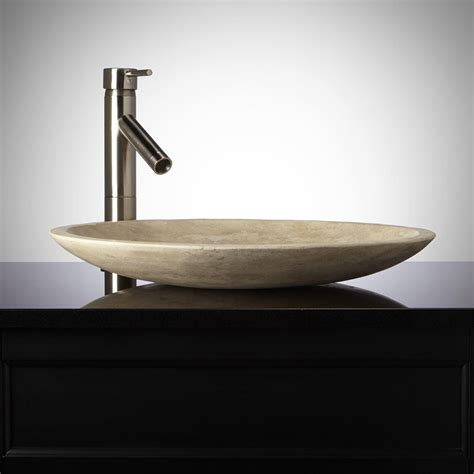 bathroom vessel shallow round polished beige travertine vessel sink