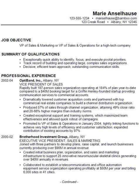 Resume for VP of Sales. Marketing, Operations   Susan