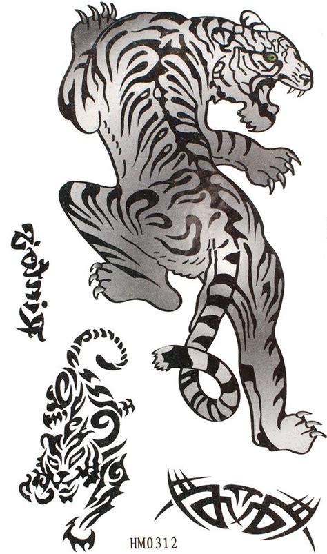 animal tattoo art black and white tiger tattoos temporary black animal