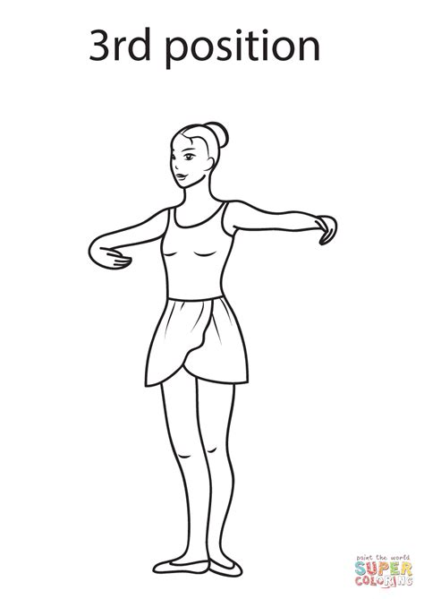 ballerina coloring pages first position ballet 3rd position coloring page free printable