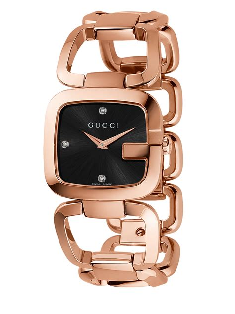 Gucci 383 Black Gold gucci g pink goldtone pvd stainless steel open link bracelet in metallic lyst