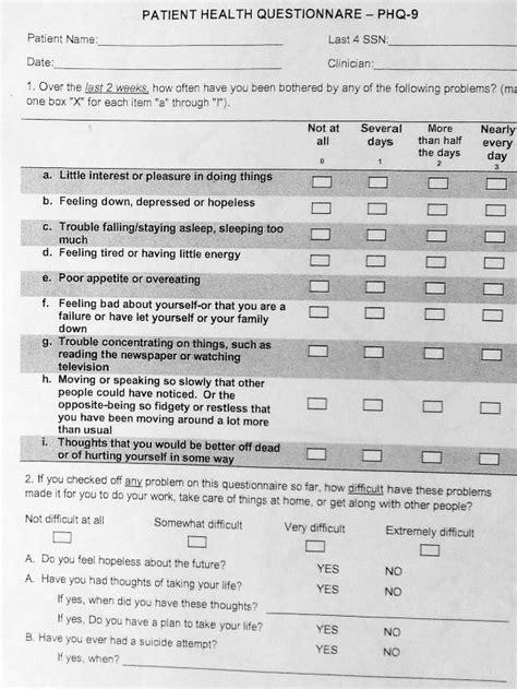 printable mental health questionnaire global political awakening doctors giving veterans