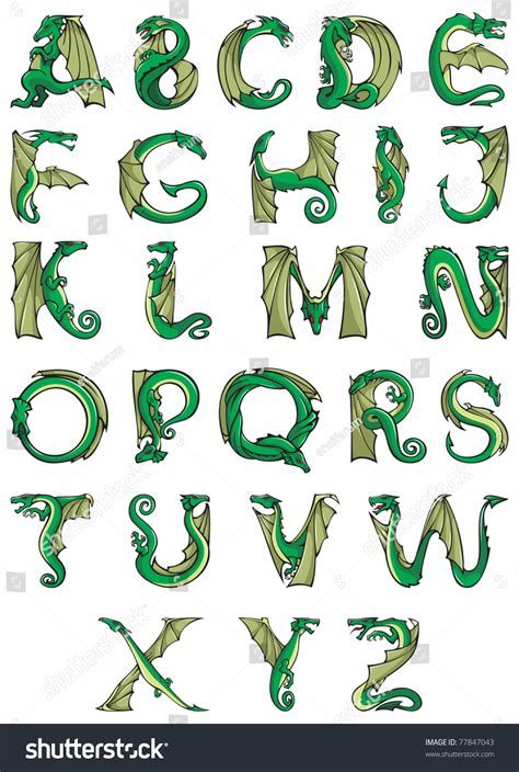 dragons alphabet fantasy dragon shape font stock