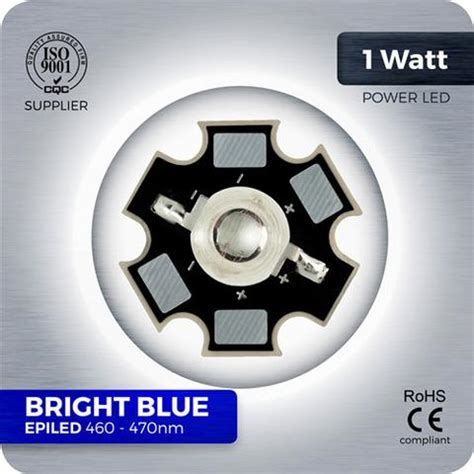 Led 1w Grow Blue 460nm 1w Bright Blue Led Epiled 460 470nm Reflow Soldered To A