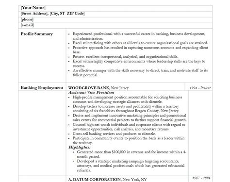 banker resume template banking resume template