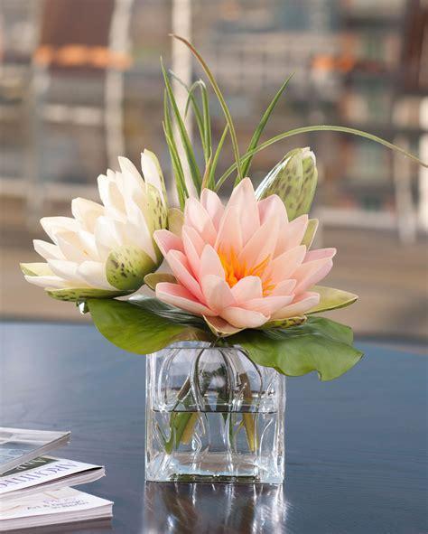 buy lifelike lotus blossom lily pad silk flower arrangement at petals