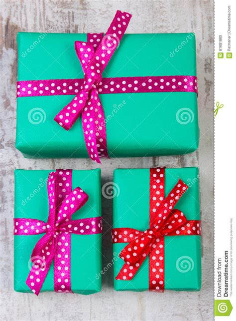 wrapped green gifts for christmas or other celebration on