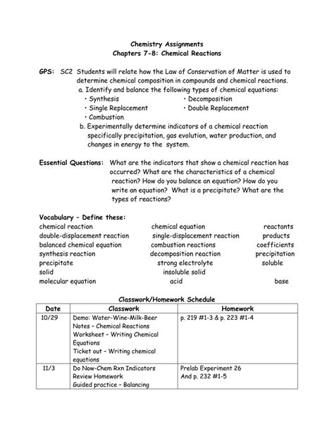 Replacement Reaction Worksheet Answers