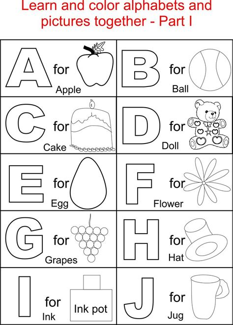 printable alphabet activities for toddlers alphabet part i coloring printable page for kids