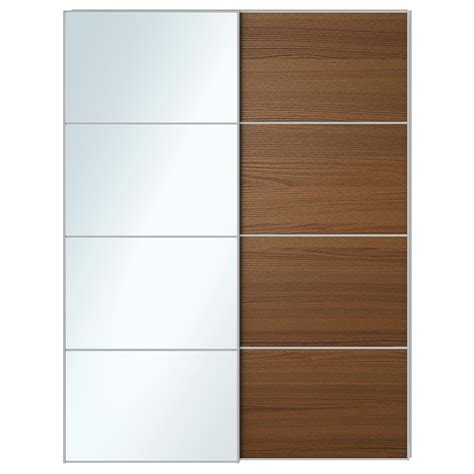 sliding walls ikea auli ilseng pair of sliding doors mirror glass brown