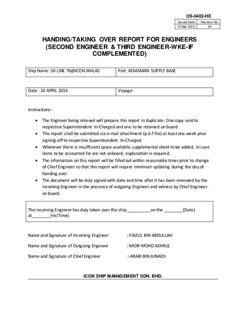 handing notes template handover note handover notes prepared by the reporting officer handover report template 15
