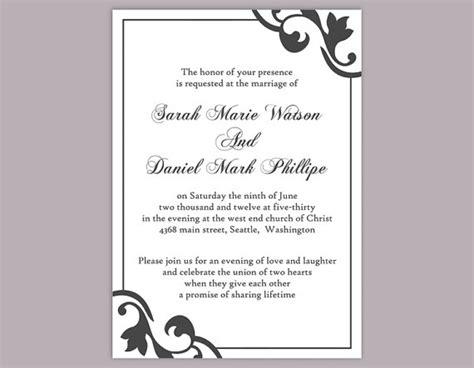 printable elegant invitation diy wedding invitation template editable word file instant