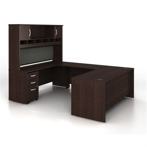 C Shaped Desk Bush Business Series C 5 U Shape Computer Desk In Mocha Cherry Wc12936 Pkg3