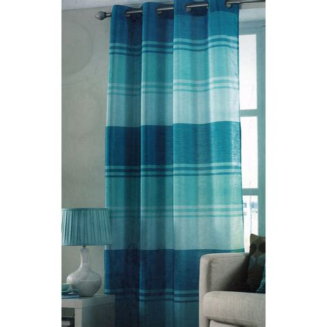 striped teal curtains teal stripe ring top one window curtain panel 145 x 228cm new