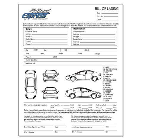 The Bill Of Lading National Express Auto Transport Auto Transport Bill Of Lading Template Free