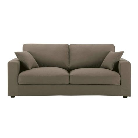 taupe couch 3 seater cotton sofa in taupe chicago maisons du monde