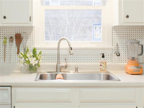kitchen pegboard ideas everything above the kitchen sink create a budget friendly backsplash that keeps day to day
