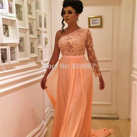Imported Laceta Dress indian evening dress 2017 one shoulder sleeves chiffon imported gowns lace appliques