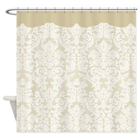 Beige And White Curtains Lace Pattern White Beige Shower Curtain By Marshenterprises