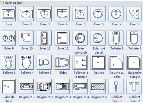 symboles pour plan de construction cuisine et salle de bains
