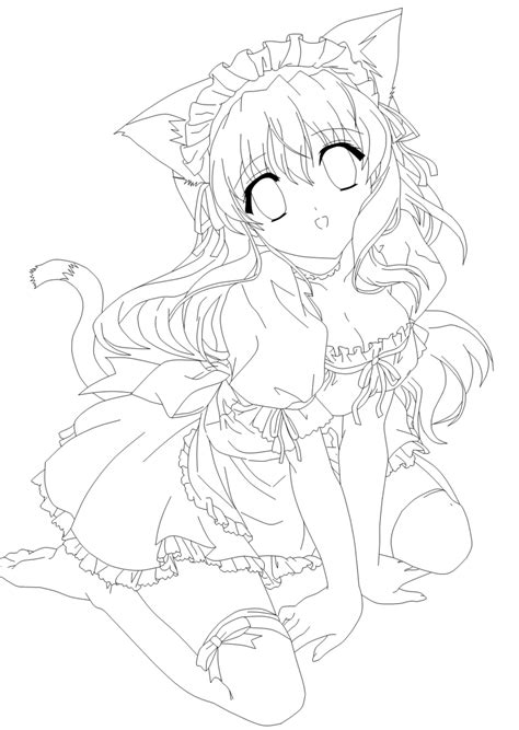 Moe Neko Lines By Amu Chii On Deviantart Anime Neko Coloring Pages Printable