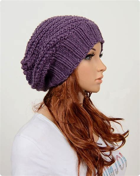 Handmade Hat - slouchy handmade knitted hat clothing cap purple on
