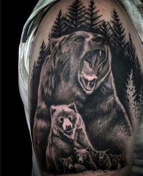 Tattoo Family Bear   realistic looking black ink wild bear family tattoo on