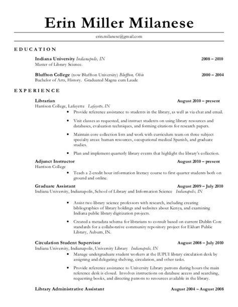 Library Associate Sle Resume by Assistant Librarian Resume Resume Ideas